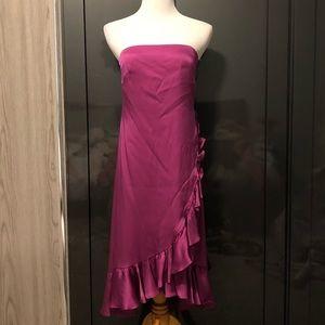 Banana Republic Magenta Strapless Ruffle Dress
